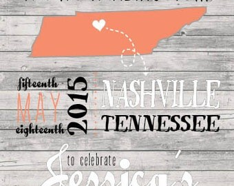 Customizable Nashville Tennessee Bachelorette Invitation