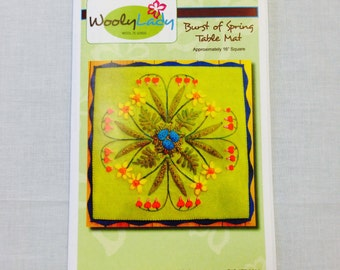 Wooley Lady Burst of Spring Wall Hanging or Pillow Limited Edition Wool Appliqué Kit 16 inches square