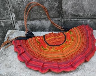 Bag, shoulder bag, shopper, leather straps, hmong hill tribe, thai cotton, embroided, fringes, ethnic, boho, big round, orange, handmade