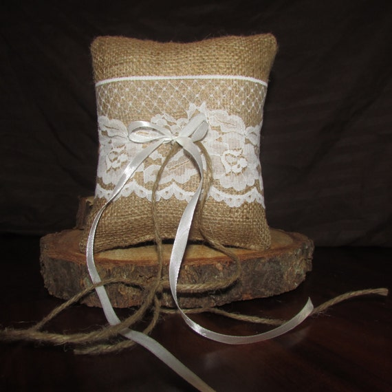 Ready to ship! Burlap/lace ring bearer pillow.rustic wedding decor, vintage wedding, cottage chic