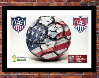 World Cup Soccer Events | USA Soccer Ball Poster Print | 19 x 13 inches