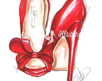 Red heels,fashion illustration, fashion print, fashion sketch, fashion wall art, fashion art, red heels print, shoes watercolor