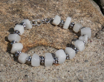 20% OFF Grey Quartz Silver Tone Spacers and Findings Adjustable Bracelet