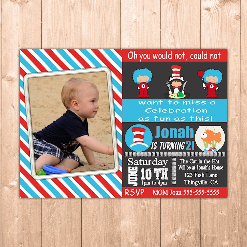 Dr Seuss Invitation With Thing 1 And 2 Plus The Cat In Hat Printable Photo Birthday Party Free Thank You Note