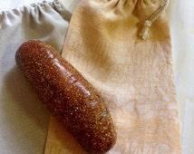 Reusable Jacquard  Linen Bread Bag