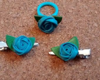 handmade, childrens, OOAK, 3 piece set, 2 hairclips, 1 ring, blue leather roses