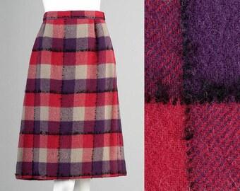 60s mod wool plaid skirt