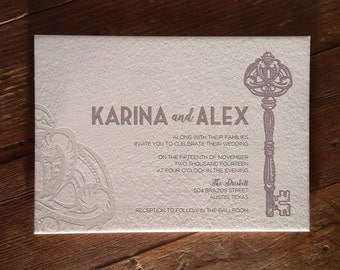 Skeleton Key Letterpress Invitation DEPOSIT