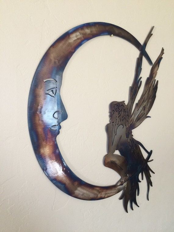Fairy moon metal wall art decor by cre8ivemetaldesigns on etsy for Fairy door wall art