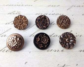 6 Small Antique Gold Luster Black Glass Buttons 14 mm