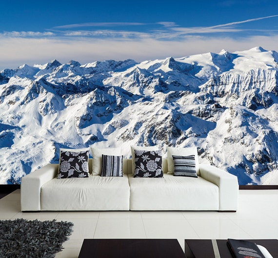 The alps wall mural europe 39 s alps mountain by fromeuwithlove for Winter wall murals