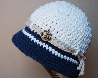 Nautical boy hat, baby boy summer hat, baby boy photo prop, crochet cotton hat, fisherman's hat,  beach hat for baby boy, newborn hat