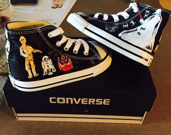 Custom Painted Star Wars Converse Toddler high tops!!