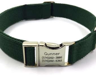 Forest Green Customized Dog Collar  Engraved Buckle Name Address Phone Number Personalized