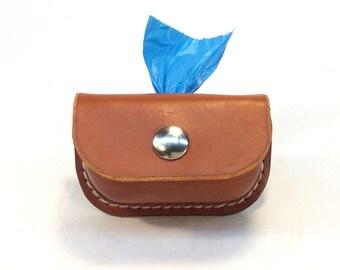 2Dog Leather Dog Bag Dispenser, Poop bag holder, Personalized