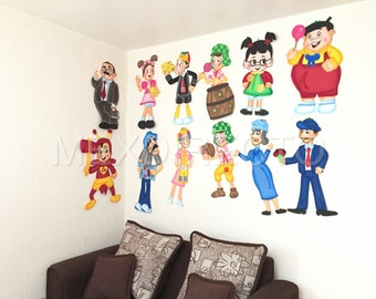 El Chavo del 8 & amigos de La Vecindad grande decorativo de pared de la espuma muñecas - El chavo del Ocho Chilindrina Kiko Don Ramon