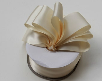 Ivory Double Faced satin Ribbon 2.5 inches wide - Ivory Satin Ribbon - Satin Ribbon Ivory - Ribbon Ivory Satin