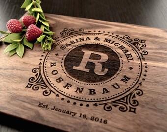 Engraved Cutting Board, Custom Wedding Gift, Monogram Carved Board, Anniversary Gift, Housewarming Gift, Kitchen Houseware, Hostess Gift