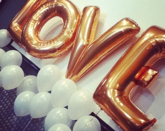 "LOVE big balloons 16"" gold foil mylar letter wedding balloons balloon banner large balloons letter Alphabet balloons   wedding bridal shower"