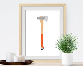 Lumberjack Axe art print - Rustic Decor for Cabins, Lodges, Lake houses, and homes
