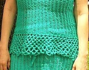 Womens crochet skirt, womens crochet summer strapless top. 100% cotton, Womens crochet summer skirt. Crochet top or skirt in tan or blue.