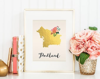 Portland Art Portland Map Portland Print Portland Poster Portland Printable Digital Portland Printable Map art Portland Oregon Art