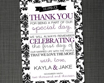 Damask Thank You Note - DIY Printable Personalized