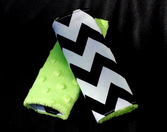Carseat Strap Covers in Black Chevron and Lime Minky