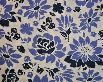 Destash fabric Secret Garden by Sandi Henderson  Blue Violet floral  fabrics Quilt cotton 1/2 yard