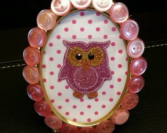 OOAK 3x5 Oval Brass Picture Frame Embellished with Pink Button Design