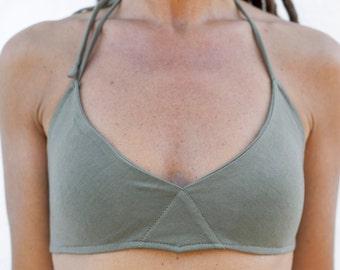 TOP BAT,cotton bra, bra top with removable pads,cotton  bikini , Mini top,woman top,ulaan formentera, short top, sexy top, confortable bra