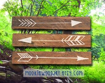 Rustic Flying Arrows Wall Decor - Reclaimed Wood Arrows - 3 Piece Set (Small)
