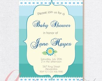 Babyshower Invitation. Pastel colors, personalized. Printable.