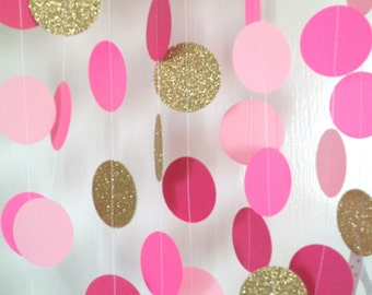 Pink Garland, Paper Garland, Raspberry, Light Pink, and Pink Bridal Shower, Pink Baby Shower Garland, Birthday Party Garland, Party Decor