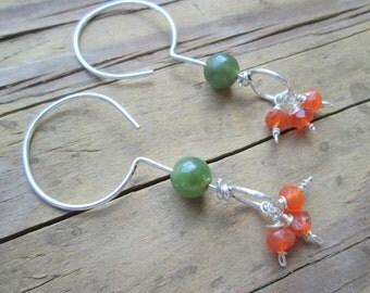 Carnelian Earrings, Sterling Silver Carnelian Dangle Earrings, Jade and Carnelian Minimalist Silver Earrings, Silver Green Orange Earrings