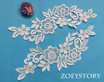 ON SALE Bridal Lace Applique, Flower Lace Applique, Gorgeous Quality Venise Lace Applique For DIY Project, Sell by Mirror Pair (A006)