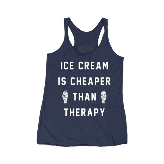 Ice Cream is Cheaper Than Therapy Indigo Womens Racerback Tank Top