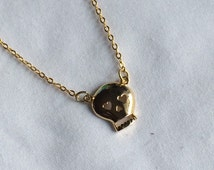 Cute Gold Girly Skull Necklace