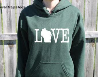 Love Wisconsin Hoodie, Wisconsin Sweatshirt