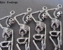 Antique Silver Hanging Skeleton Charms, Spacers, Loose Beads, Halloween, Findings, Jewelry Craft Supplies, Epic Findings