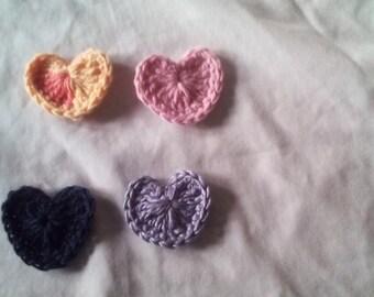 set of 8 crochet hearts, hand crochet  hearts, appliques, bunting heart, valentine heart,garland heart,craft supplies, sewing supplies