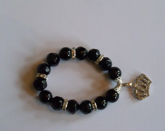 Black Glass Beaded Bracelet With Crown Shaped Charm