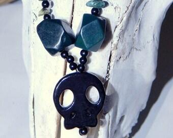 Skull Chain Necklace Horror Gothic Halloween Horror Hematite Jasper