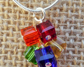 SALE Rainbow Crystal Cube Cluster Necklace