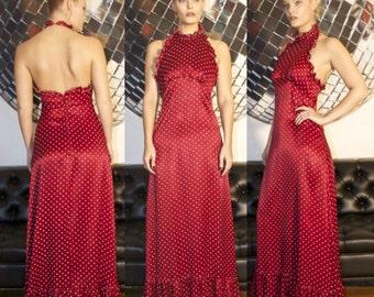 SALE - Vintage 60s 70s Boho Maroon Red High Neck Halter Polka Dot Maxi Dress S Small