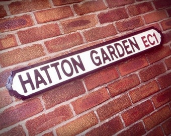 Hatton Garden Old Fashioned Faux Cast Iron London Street Sign