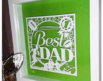 Best Dad 'Rugby' (Father's Day) Paper Cut / Papercut Template - Commercial Use - Instant download.