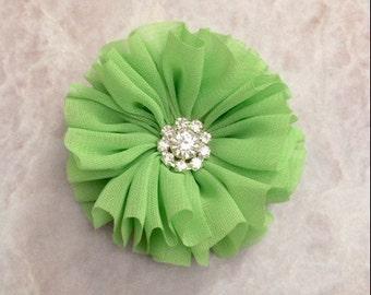 Lime green Ballerina flower, chiffon flower, rhinestone flower, fabric flower, headband flower, supply flower, ballerina flower,