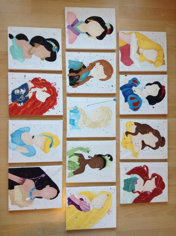 Items similar to buy 9 get 4 free disney princess abstract for Where to buy canvas art