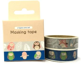 Owl 2pc Set Washi Tape (4.9m x 2) SM312624